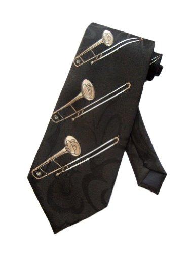 Steven Harris Mens Trombone Jazz Music Necktie - Black - One Size Neck Tie