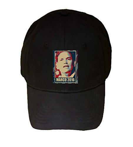 100% Black Cotton Adjustable Hat - Marco Rubio - 2016 Presidential Candidate Design