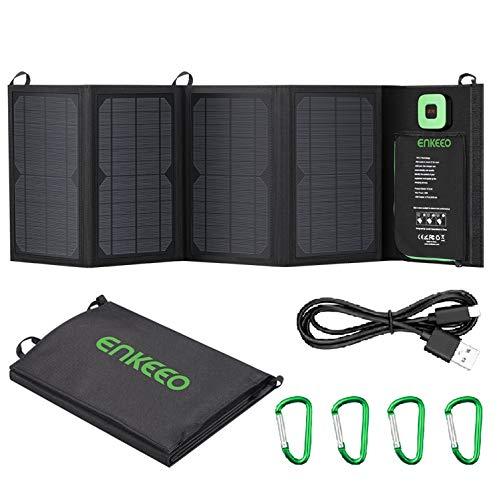 enkeeo ソーラーチャージャー 28W 単結晶 折りたたみ式 ソーラーパネル ソーラー充電器 太陽光発電 高変換...