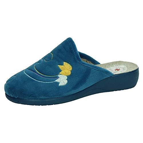 MADE IN SPAIN 6501 Chinelas con CUÑA Mujer Zapatillas CASA Tejano 38