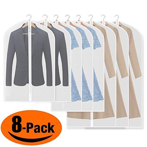 iToncs Kleidersack, staubdichte Anzugstaschen, (8 Stücke) Transparent [120 x 60 cm + 100 x 60 cm + 80 x 60 cm], für Anzüge Kleider Mäntel Sakkos Hemden Abendkleider Anzugsack Aufbewahrung