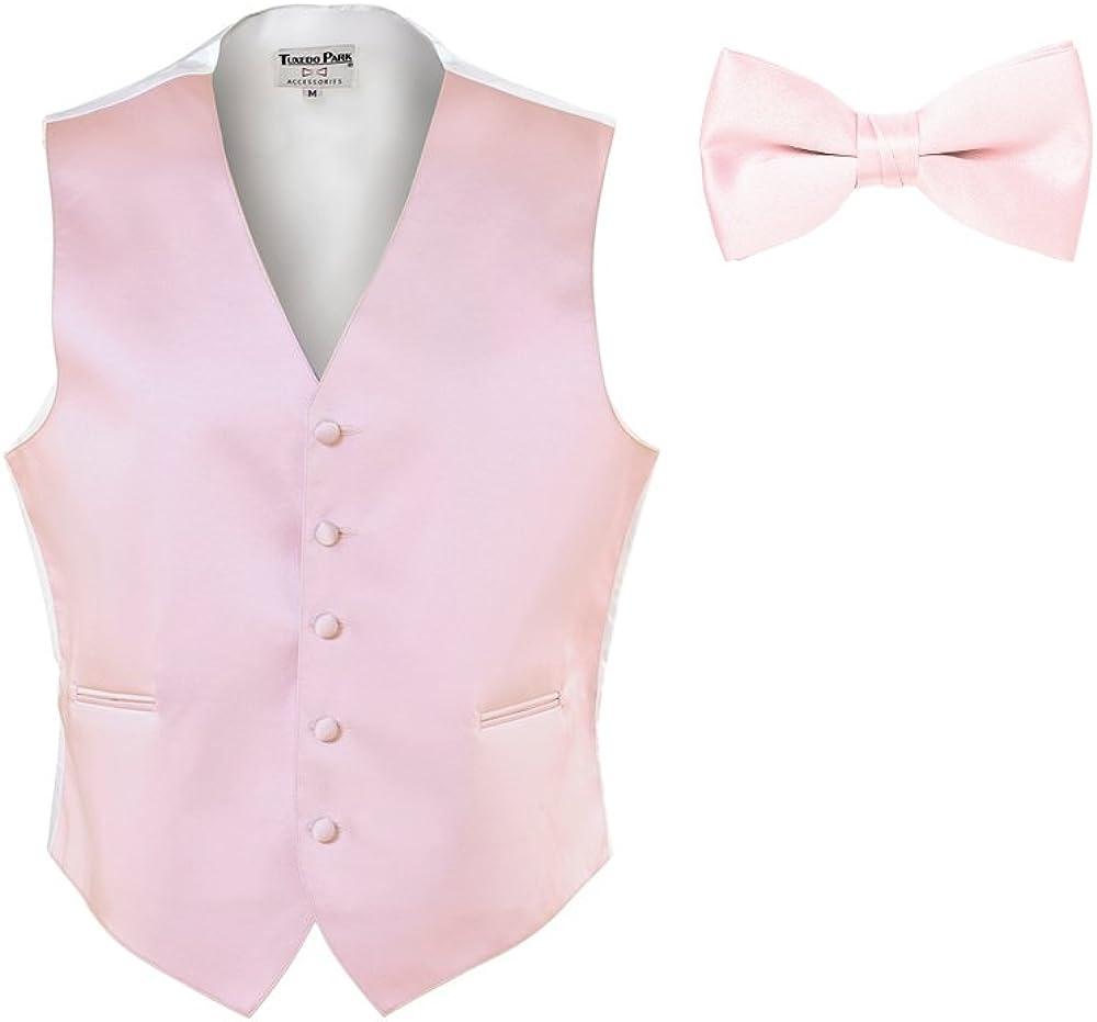 EZ Tuxedo Light Pink Satin Vest and Bow Tie and Pocket Square (Medium)