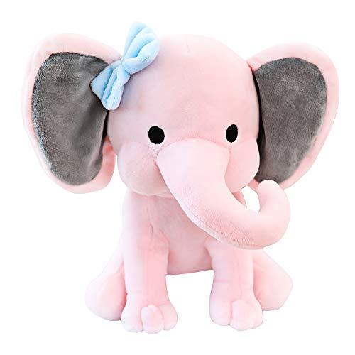 Nanshu Elephant Stuffed Animal, Baby Elephant Plush Toys for Newborn Toddler&Kids Pink