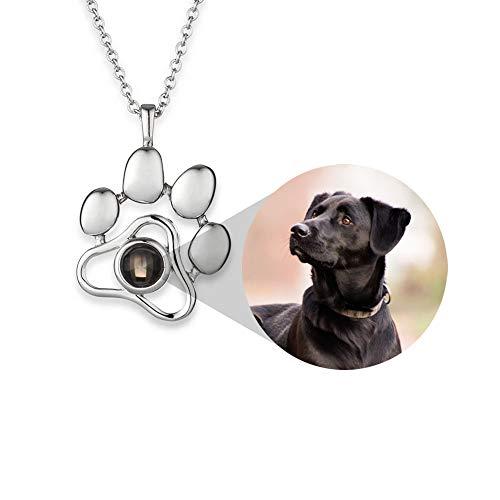 Gedenk-Halskette für Haustiere, personalisierbares Haustierbild, personalisierbare Gravur, Foto-Anhänger – Beileidsgeschenk für Haustierliebhaber – Silberfarbener in Erinnerung an Hund oder Katze
