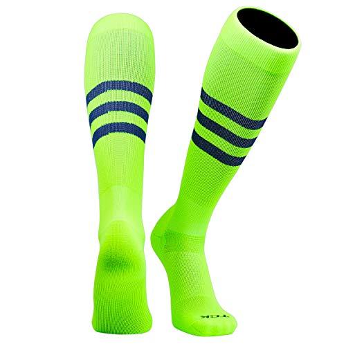 TCK Elite Baseball Football Knee High Striped Socks (B) NEON Green, Navy (M, NEON Green)