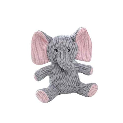 BriskyM Baumwolle gestricktes Plüschtier für Jungen und Mädchen - Bär, Kaninchen, Pony, Dinosaurier, Elefantenbaby - Bio-Hand gehäkelte Tierrassel (Elefant, 22 * 11)
