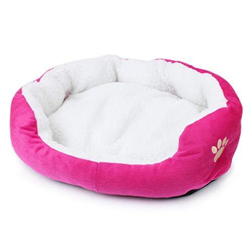 Cama para Perros de Felpa Suave y cálida Cama para Perros Cama para Dormir mullida sofá para Mascotas Perros pequeños y medianos de Varios tamaños -Rosa roja_Los 50 * 40cm