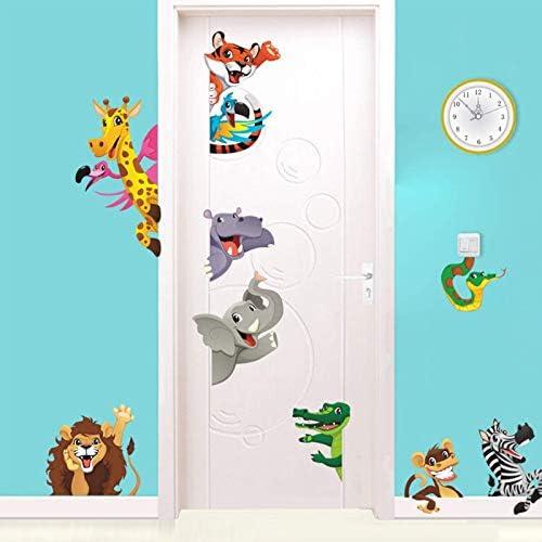 NITCAN Jungle Cartoon Active Animals Wall Decals for Baby Kids Rooms Home Door Window Decor product image