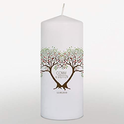 Hochzeitskerze mit Namen und Datum Grün, Traukerze Hochzeit, Hochzeitskerze Lebensbaum, Weiß