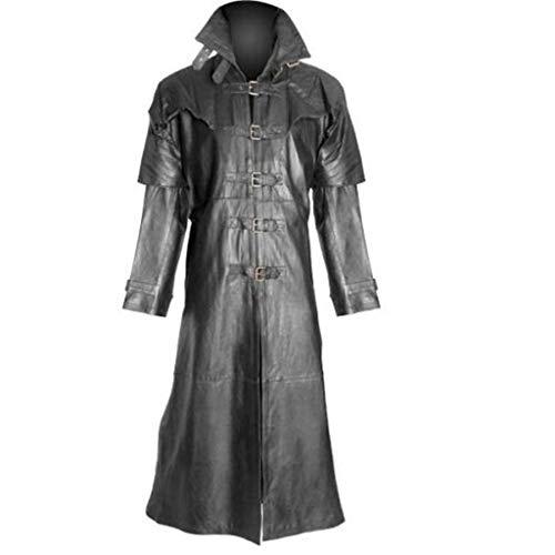 Feytuo Mantel Herren Lange Retro Einfarbig Outdoor Mantel Cool Mode Winter Angebote Mantel Große Größen PU Leder Freizeit Jacke Mode Mantel Sale Elegant S-5XL