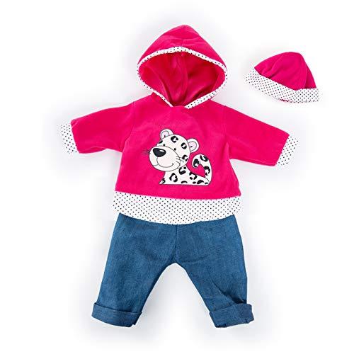 Bayer Design 83878AA Puppenkleidung für 33-38cm Puppen, Hose, Oberteil und Mütze, Set, Outfit mit Leopard, rosa, weiß, Jeans