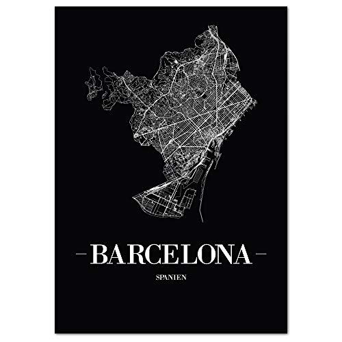 JUNIWORDS Stadtposter, Barcelona, Wähle eine Größe, 21 x 30 cm, Poster, Schrift A, Schwarz