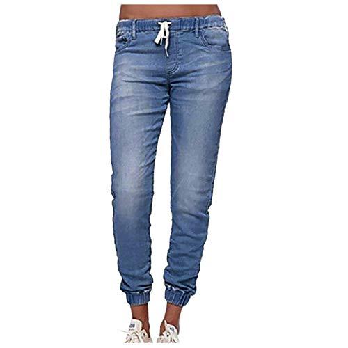 WUAI-Women Pull On Denim Pants Elastic Waist Stretch Drawstring Pockets Joggers Sweatpants Jeans Pants (Light Blue, Large)