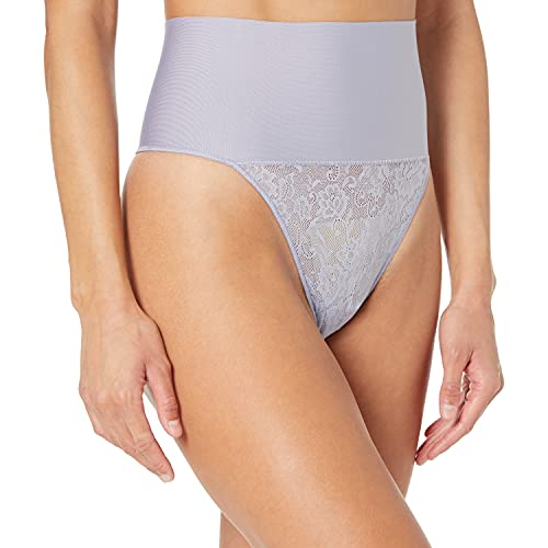 Maidenform Women's Tame Your Tummy Shaping Thong with Cool Comfort, Silver Blue Lace, Small