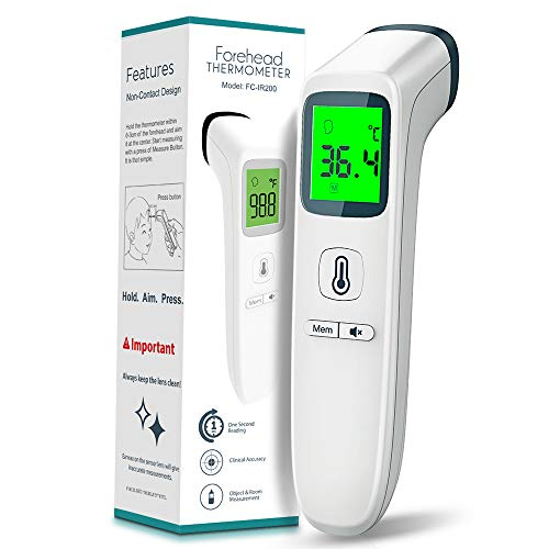 No Touch Forehead Thermometer for Adults and Kids, Digital Infrared Thermometer for Humans, Thermometer Forehead Touchless with Accurate Instant Reading and Memory Recall