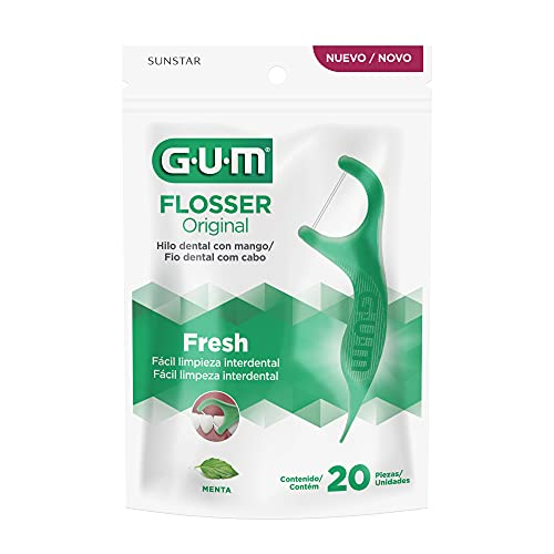 Flosser Gum Original, Fio Dental Com Haste, Sabor Menta, 20 Unid., Gum, Verde