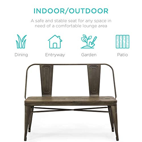 Best Choice Products 42in Indoor Outdoor Industrial Metal Rustic Farmhouse Dining Bench for Patio, Entryway, Garden, Backyard w/Wooden Seat, Removable Backrest, Non-Marring Foot Caps - Espresso