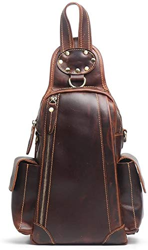 Casual rugzak Chest Pack Men's Chest Zipper Leather Crossbody schoudertas Donkerbruin Ideaal for Outdoor Travel Camping