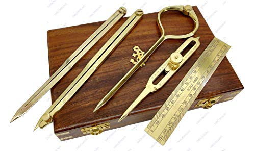 """Proportional Divider Set of 5, Full Brass dividers with Executive Wooden Box, Single Handed 8"""" Brass Navigational Dividers Compass Set for Maritime, Naval, Geometry and Drafting"""