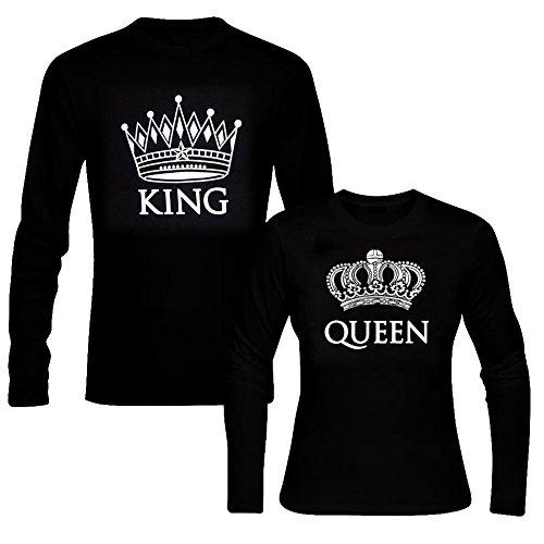 picontshirt King & Queen Long Sleeve Black Couple T-Shirts Men L/Women L Black