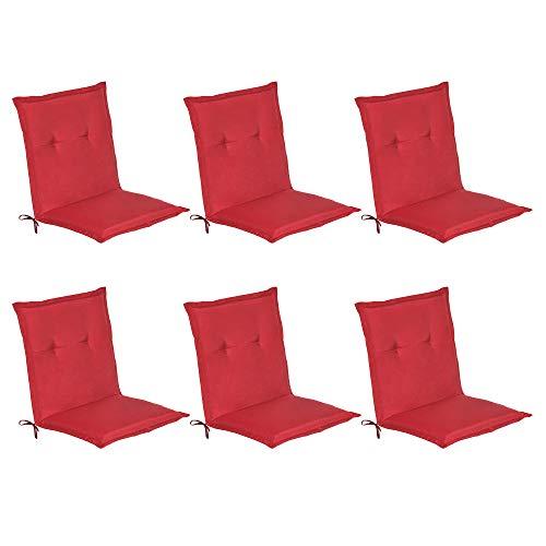 Beautissu Niederlehner Gartenstuhl Auflagen 6er Set Loft NL Gartenstuhlauflage 100x50 m Sitzkissen für Niedriglehner Sitzpolster Stuhlkissen Rot