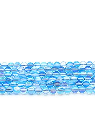Piedra natural de labradorita azul sintético flash luna piedra perlas redondas sueltas bolas para hacer joyas pendientes pulsera DIY azul 10mm aproximadamente 38cuentas