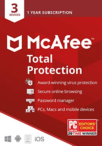 McAfee Total Protection 2020, 3 Device, Antivirus Internet Security Software, Password Manager, Privacy, 1 Year - Key Card