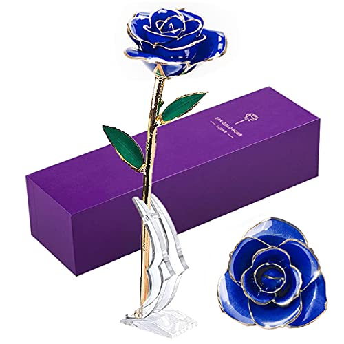 Gold Dipped Rose 24K Flower Unique Gifts for Women Eternity Love Valentine's Day Christmas Wedding Anniversary Birthday Presents Thanksgiving Day for Her Girlfriend Wife Lover, Dark Blue