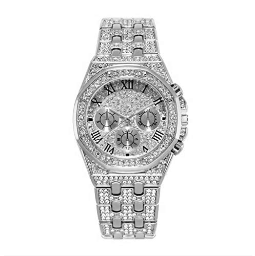 Bling Herrenuhr Iced Out Diamanten Armband Kristall Strass Diamant Uhren Edelstahl Metall Band Vorwahlknopf Analoge Uhr Klassische Quarz Armbanduhr Silber Rose Gold Hip Hop Herren