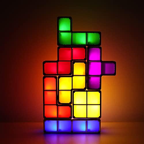 Tetris - Luce notturna impilabile, a LED, 7 colori, puzzle 3D, blocco a induzione, lampada USB, per fai da te, Tetris Tangram luce per bambini, teenager, camera da letto (USB)