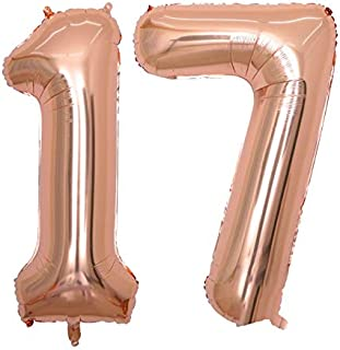 BALONAR 40 inch Jumbo 17th Rose Gold Foil Balloons for Birthday Party Supplies,Anniversary Events Decorations and Graduation Decorations (ROSE17)