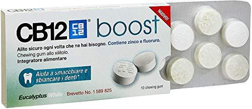 CB12 Whitening Boost Gomme da Masticare per Prevenire l'Alito Cattivo e Migliorare l'Igiene Orale,10 Chewing Gum - 200 Gr