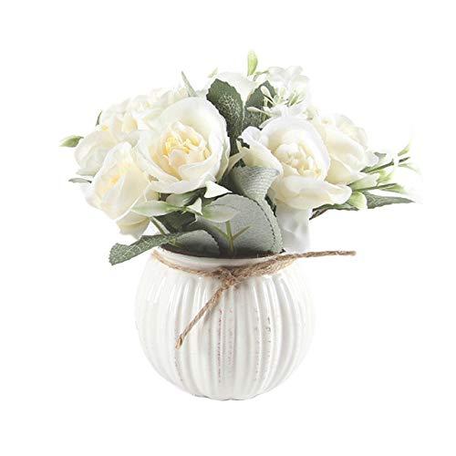 HONIC 1Pc Künstliche Blumen Bonsai Rundtopf Garten Wohnzimmer Hochzeit Dekor Künstliche Bonsai