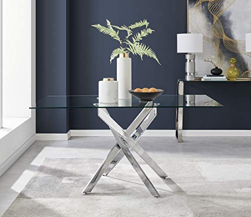Leonardo Clear Glass And Chrome Metal Modern/Stylish Dining Table And 6 Chairs Set (Dining Table Only)