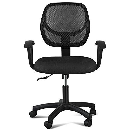 Popamazing Leder-Drehstuhl für das Büro, Schwarz, Textil, schwarz, 500112