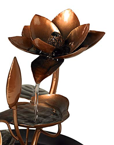 """John Timberland Begonia Flowers Modern Zen Indoor Table-Top Water Fountain 10 1/4"""" High Cascading for Table Desk Office Home Bedroom Relaxation"""