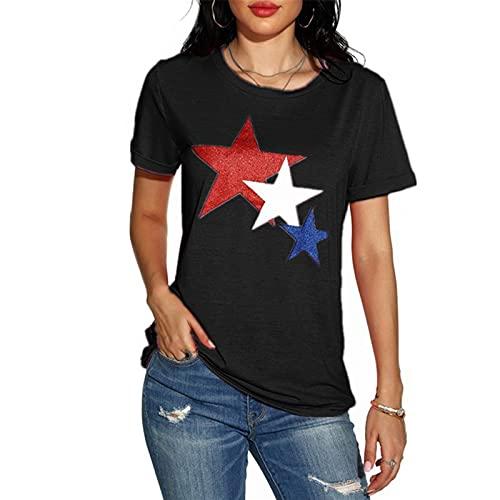 SLYZ Camiseta De Manga Corta para Mujer De Verano Moda Cuello Redondo Estampado En Caliente Blusa De Manga Corta con Estrella De Cinco Puntas
