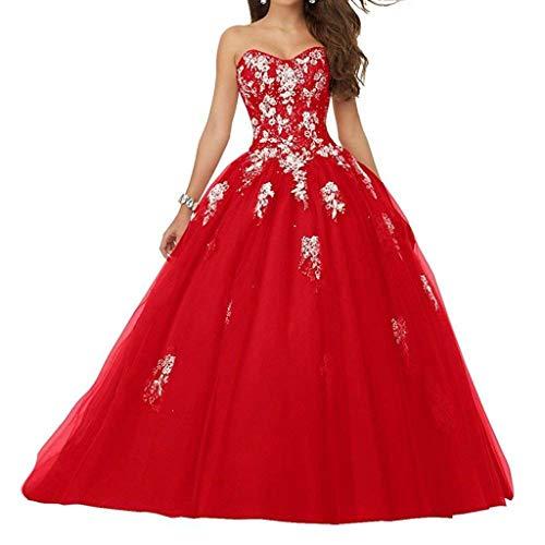 Vantexi Damen Spitze Tüll A-Linie Ballkleid Lang Abendkleider Brautkleider Quinceanera Kleider Rot Größe 42