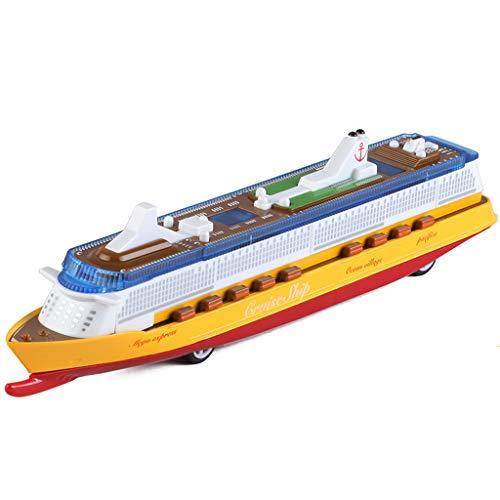 LTOOTA Miniatur Cruise Liner Schiff Herzstück Spielzeug, Musik Ocean Liner Blinkende LED Lichter Sound Electric Cruises Simulation Boot Spielzeug Druckguss Modell für Kinder,Gelb