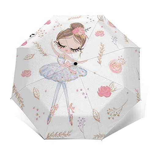 Paraguas de viaje a prueba de viento automático abierto y cerrado rosa floral bailarina plegable pequeño paraguas compacto para la lluvia