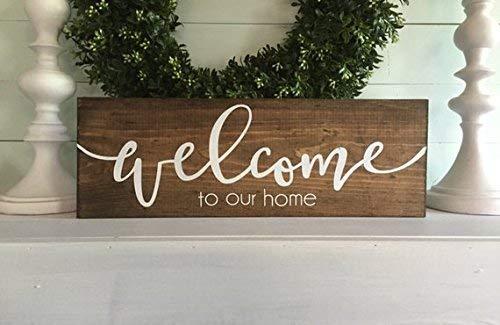 Monsety Home Schild Türschild Holzschild Wandbehang Custom Sign Welcome to Our Home Schild Welcome to Our Home Puritanisches Kiefernholz und weißer Schriftzug