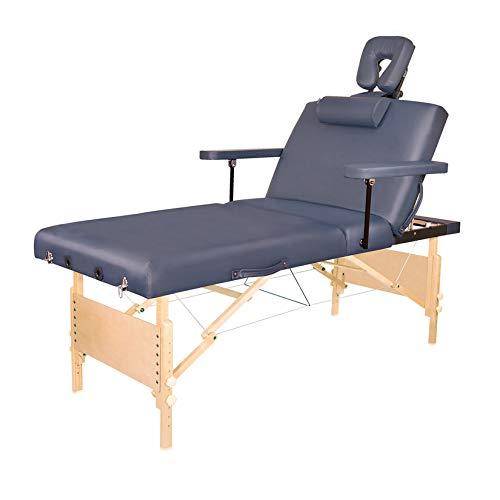 Tragbarer Massagetisch Verstellbar Klappbares Massagebett Spa-Behandlungstisch Aus Holz Beauty-Bett Mit Pneumatisch Kippbarer Rückenlehne Und Beinstütze, 76 Cm Breit