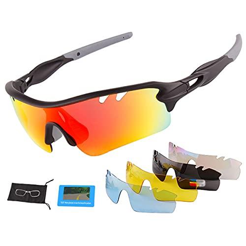 YJSJ Gafas De Ciclismo Fotocromáticas Al Aire Libre Hombres Mujeres Gafas De Sol De Motocicleta UV400 Conducción Pesca MTB Gafas De Bicicleta De Montaña con 5 Lentes Polarizados(Color:Gris Negro)