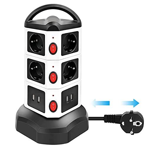 Wesimplelife Multipresa Verticale Torretta Multipresa Ciabatta Elettrica 10 Prese Con 4 Slot USB, 3 Interruttori 2M Cavo, Protezione Contro le Sovratensioni Surge Arrest, 2500W 10A