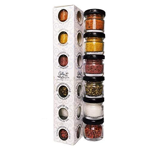 Glosa Marina - 6er Gourmet Meersalz und Pfeffer Set aus Mallorca als ideales Salz & Gewürze Geschenk Paket (118g)