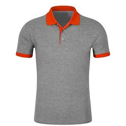 Willlly Polohemd heren zomer revers korte mouwen casual chic poloshirt T shirts sport vrije tijd en werk katoen grijs en oranje