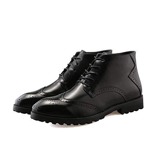 Zapatos de hombre Talla botas del tobillo de Hombres-top de encaje hasta PU cuero de tacón bajo la Ronda del dedo del pie de goma con salientes suela antideslizante zapatos de hombre atléticos