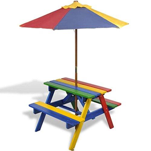 mewmewcat Conjunto de Mesa y Bancos para Niños con Sombrilla,Salgan de Picnic,Capacidad Máxima 60kg,Madera de Abeto,Rojo Amarillo Azul Verde