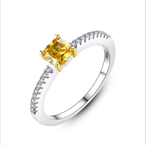 YOYOYAYA Anillo S925 Plata Cristal De Diamante Natural O Art