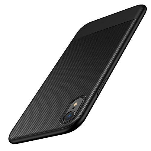 AVANA Hülle für iPhone XR Hülle Schutzhülle Flexibles Slim Case Schwarz Bumper Schutz Weiche Handyhülle Silikon TPU Schale Kratzfest Kohlefaser Cover Carbon Optik